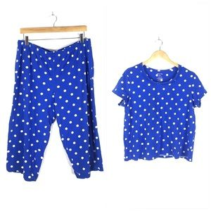 Other - Blue White Dot Cropped Pajama Pant Shirt Set XL 16
